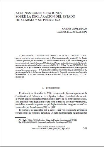 Algunas consideraciones sobre la declaración del Estado de alarma y su prórroga