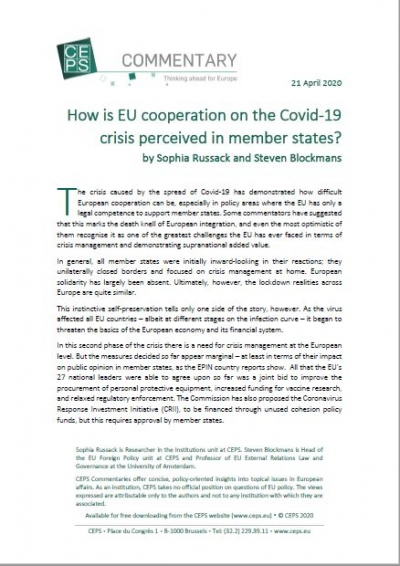 How is EU  cooperation on the COVID-19 crisis perceived in member states?
