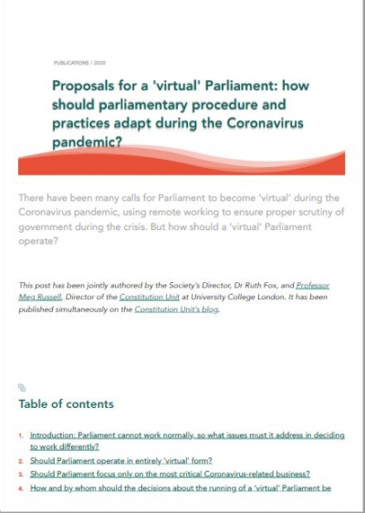 Proposals for a 'virtual' Parliament: how should parliamentary procedure and practices adapt during the Coronavirus pandemic?