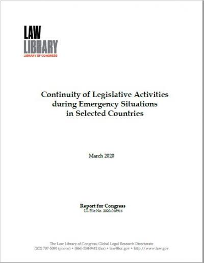 Continuity of Legislative Activities during Emergency Situations in Selected Countries